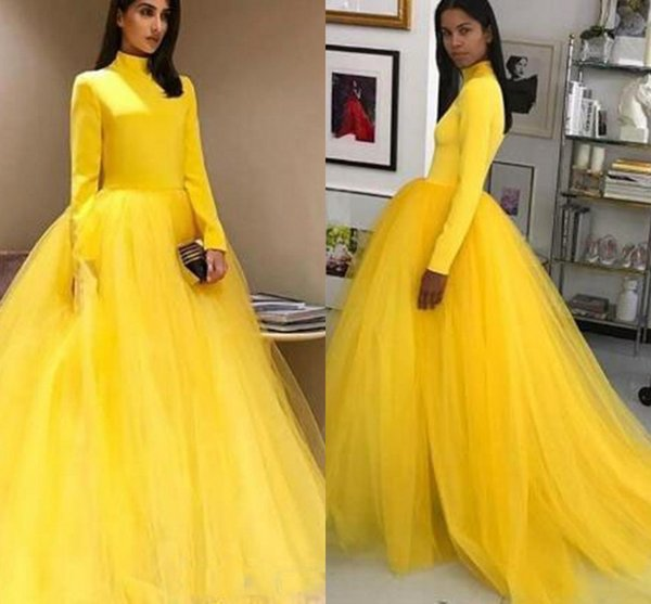 Saudi Arabic Long Sleeve High Neck Yellow Prom Dresses Tulle Ball Gowns  Sweet 16 Dress Quinceanera Formal Elegant Evening Gowns Robes Cute Prom