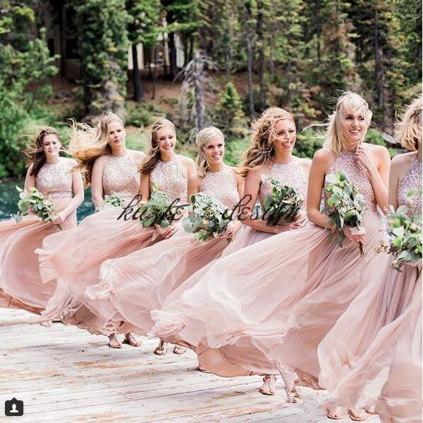 Elegant Pink Beach Holiday Long Bridesmaid Dresses Jewel Sequins Chiffon Plus Size Junior Wedding Party Guest Dress Cheap