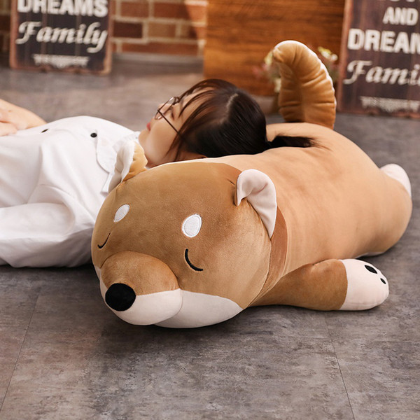 40-100cm Cute Lying Fat Shiba Inu Dog Plush Toy Stuffed Soft Kawaii Animal Cartoon Pillow Lovely Gift for Kids Baby Children