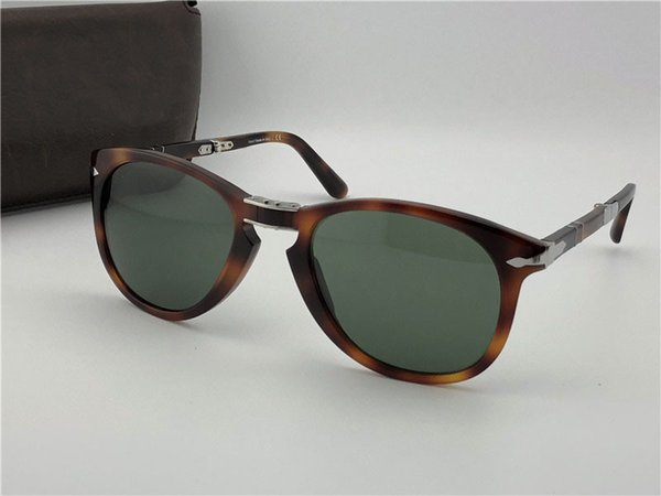 Diseñador de moda gafas de sol 714 clásico retro piloto plegable marco lente de vidrio UV400 gafas de protección con estuche