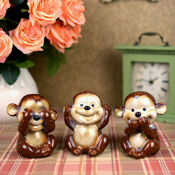 3pcs cute expression ceramic monkey figurines lovely home decor crafts porcelain room decoration ornament for boys