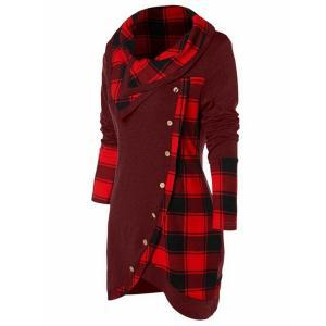 Women Plaid Patchwork Sweatshirt Fashion Turn-Down Collar Button Top Irregular Hem Blouse Casual Hooded Ladies Long Sleeve Clothes LJJR203
