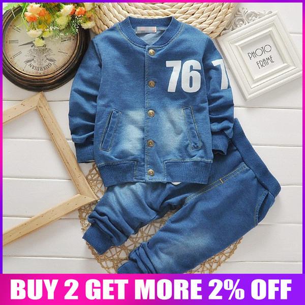 Vêtements bébé garçons Ensemble vêtements pour bébés Automne Printemps denim à manches longues Manteaux + Pantalons 2PCS pour les garçons Enfants Casual Cuit Enfants Sport Survêtement
