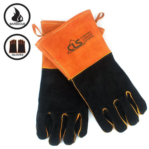 Barbacoa exterior para acampar fuego barbacoa guantes de cuero resistente al calor aislamiento térmico engrosado y extendido soldadura guantes de protección naranja