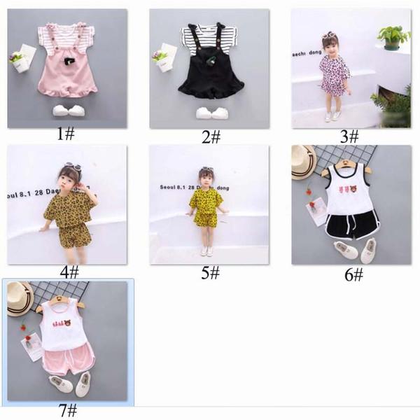 2019 Yaz Çin tarzı bebek kız giyim çizgili Tişört tops + şort yenidoğan bebek kızlar için spor takım elbise serin giysi set B11