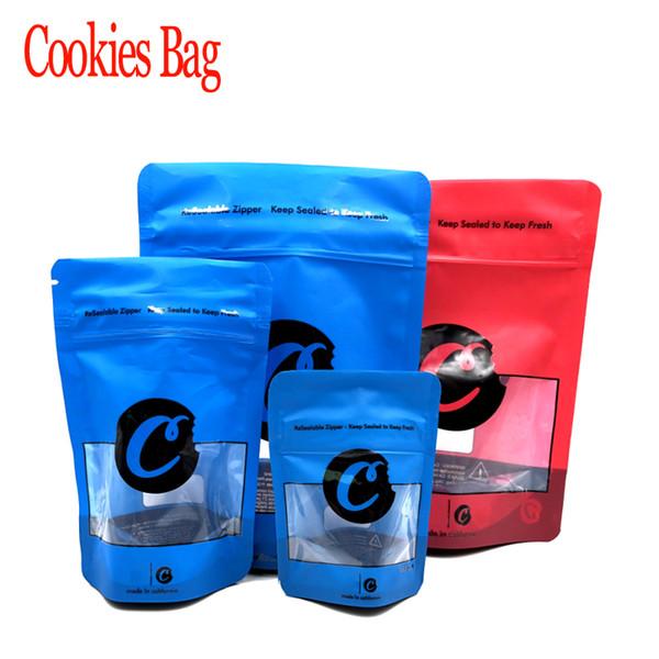 3 Tamaño S M L Azul Rojo Galletas Cremallera Bolsas a prueba de olores Empaquetado Levántese las bolsas Función de prueba de la hierba seca para niños