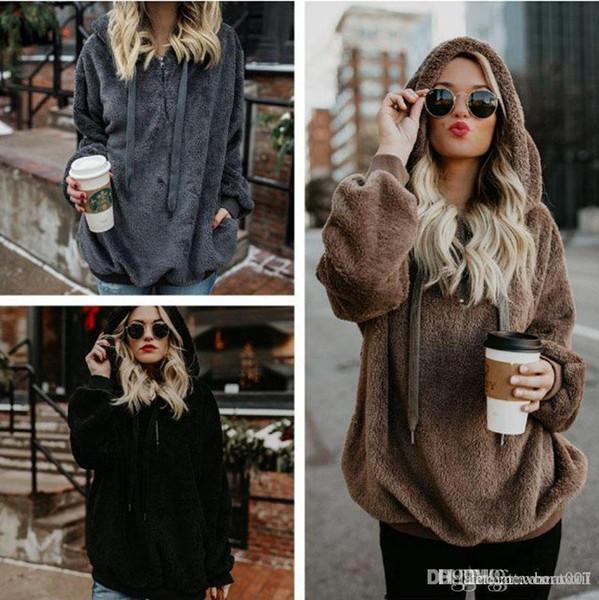 18ss Hot Sale Women Hoodies Zipper Girl Winter Loose Fluffy Bear Ear Hoodie Hooded Jacket Warm Outerwear Coat Cute Sweatshirt Hoody s-5xL