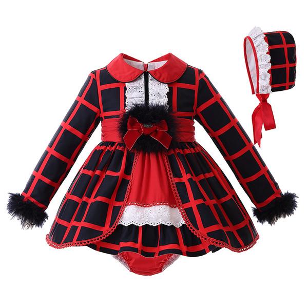 Pettigirl Autunno Neonato Neonato Designer di abbigliamento Set Red Grid Faux Fur maniche lunghe Top con fiocco + rosso PP-pantaloni G-DMCS107-B357