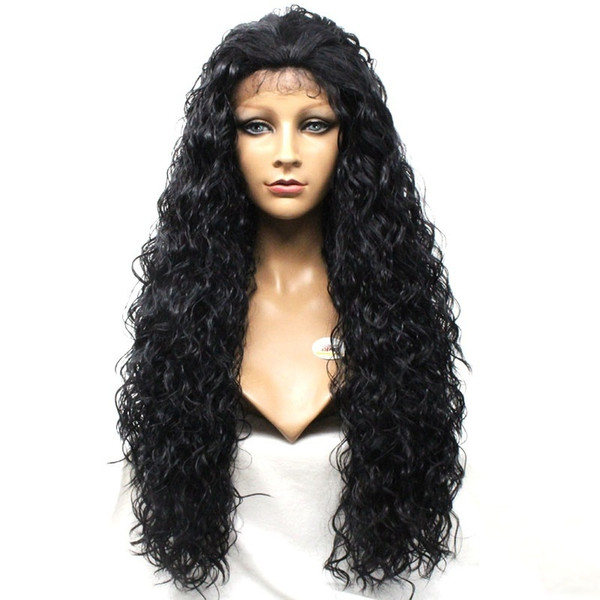 Natural Hairline 180 Density Heat Resistant Fiber Glueless Curly Hair Full Wigs For Black Women Synthetic Lace Front Wigs with Baby Hair