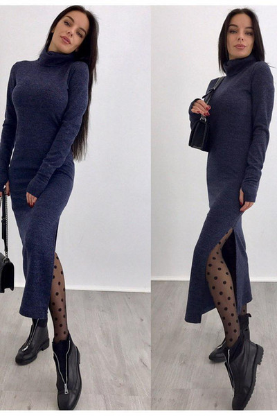 Wholetide Nice High Necked Designer Dress Cheap Knitted Casual Dresses Choker Knitting Shirt Lady Bodycon Personality Designer Dresses