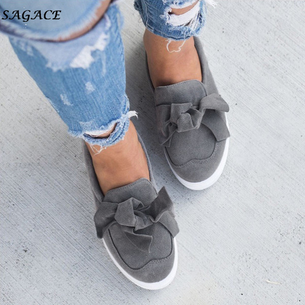 Designer Dress Shoes CAGACE Women Bowknot Slip Autumn women Vintage Out Round Toe Platform Heel Buckle Strap Casual