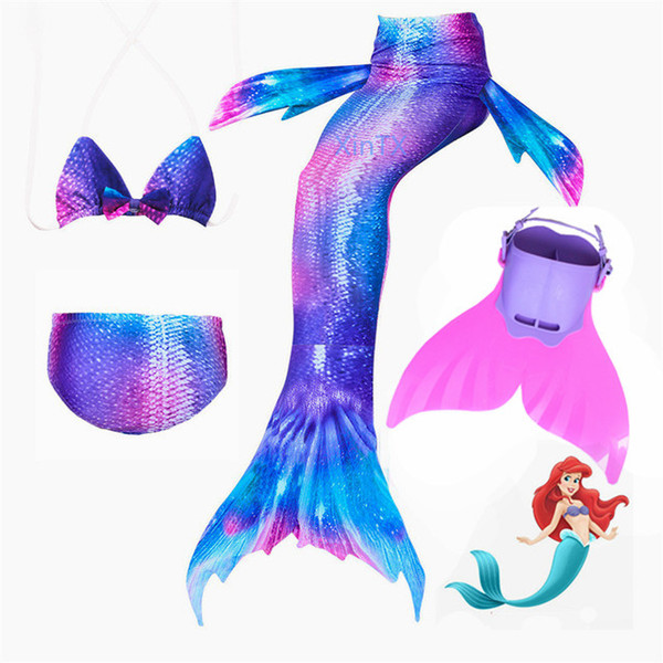 New 4pcs/set Swimming Mermaid Tail With Flipper Bikini Girls Children Swimmable Mermaid Tail Kids Costume Cosplay