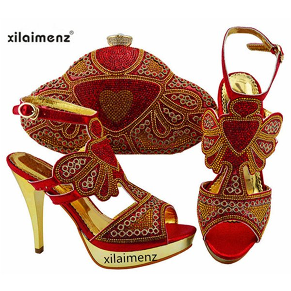 High Quality Sandals Italian Shoes and Matching Bags African Shoes and Matching Bags Party Shoes and Bag Sets in Red