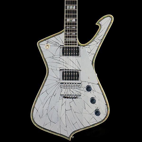 Custom made Mirror Cracks PSM10 Black Guitar Paul Stanley Signature MiKro Electric Guitar Abalone Binding Body Mirror Pickguard