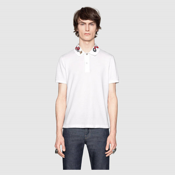 Mens Summer Snake Print Polos Quick Dry Fashion Classic Male Clothing High Street Pearl Cotton BreathableTees