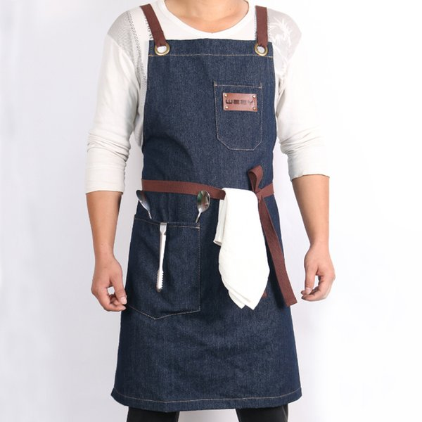 Denim Kitchen Cooking Apron with Adjustable Cotton Strap Large Pockets Blue 34x27 Inches Barista Men and Women Homewear