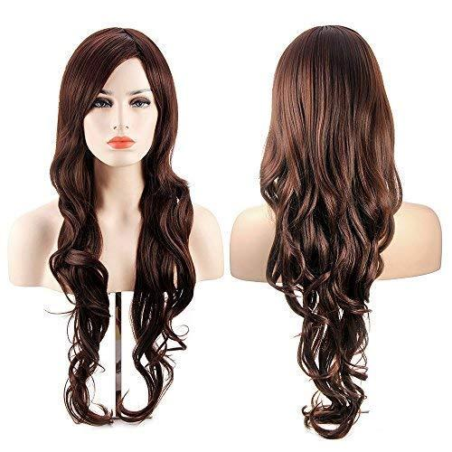 "Dark Brown Long Wavy Curly Wig - 34""Curly Wig with Inclined Bangs Synthetic hair Wig for Women Wigs for Daily Party Cosplay"