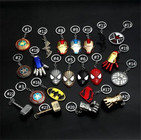 2019 cross border avengers hit captain America iron man car key chain men's and women's bags hang with cartoon trinkets
