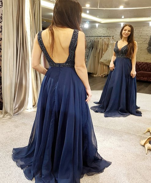 Beautiful Young Girls Dark Navy Column Prom Dresses Sexy V Neck Chiffon Beaded Holiday Evening Gowns graduation university Backless Dress