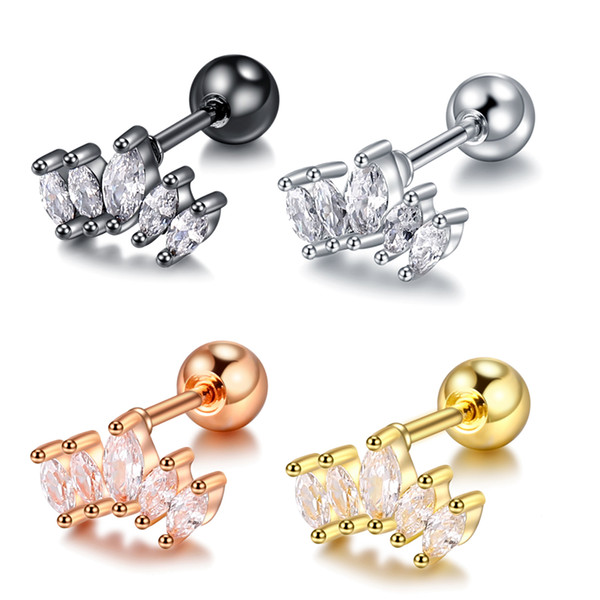 1PC Simple Dainty Tragus Piercing Earring Helix Gold CZ Crown Cartilage Stud Earrings Crystal Conch Daith Piercings Jewelry 20G