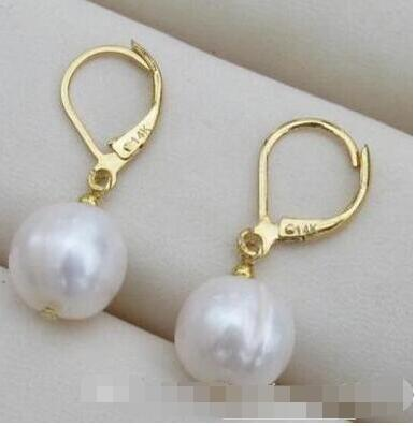 natural 10-11mm white south sea  Pearl Stud Earrings 14k