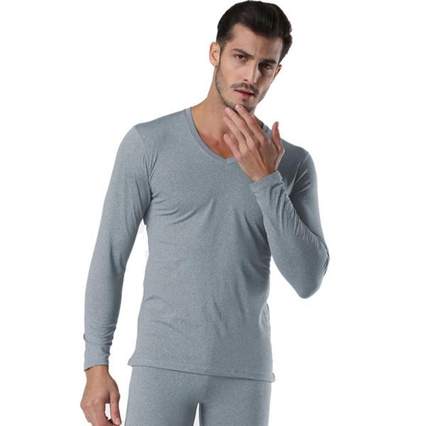 Winter Pullover Männer Thermo-Unterwäsche Set Schwarz Grau V-Ausschnitt Nahtlose Winter Warme Tops Hosen 2 Stück Männliche Kleidung Set Neue