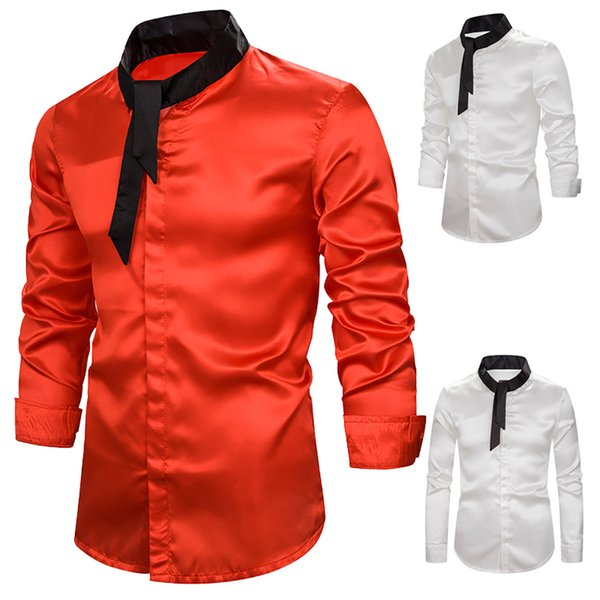 Agradável Mens brilhante de cetim de seda sólida Camisa com laço Long Sleeve Slim Fit Nightclub vestir a camisa Costumes Men DJ Prom Stage Weddding