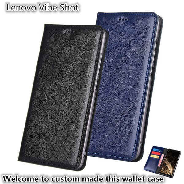 QX13 Gneuine Leather Wallet Phone Bag With Card Holders For Lenovo Vibe Shot Z90 Phone Case Kickstand For Lenovo Vibe Shot Phone Pouch