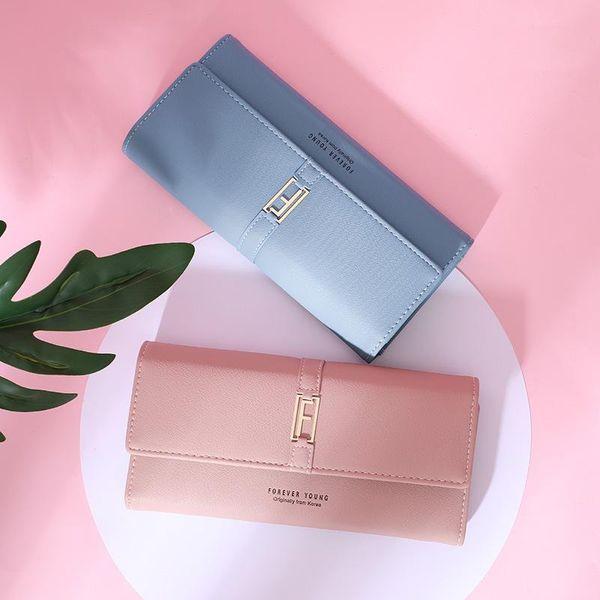 Ma'am Mode Kreditkarten Brieftaschen Damen kleine Leder blau Geldbörse Long Fund Hand nehmen Paket drei Fracture Hasp Young European für Frauen