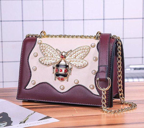 Factory wholesale brand women handbag elegant new styling leather Chain bag sweet diamond bee women shoulder bag foreign gas sweet Pearl dia