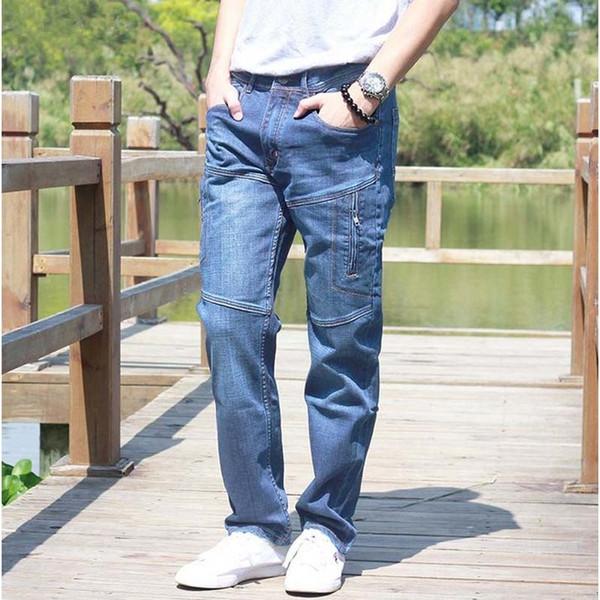 ICPANS Men Jeans Pants Stretch Straight Loose Black Cargo Denim Jeans Men Zipper 2019 New Big Size 40 42 44 T191019