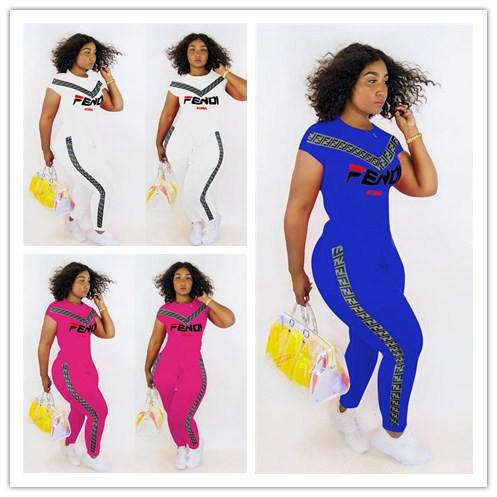 Women FF Tracksuit Summer Letter Printed T-shirt Top + Pants Trousers 2 Piece Set suit Sportswear Joggers Outfits Club Wear Hot C43002
