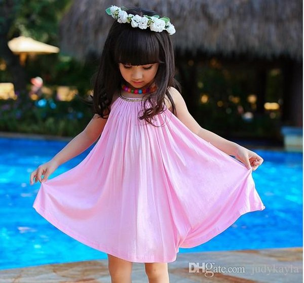 Chilren Girls Dress For 2019 Summer The New %100 Pure Cotton Gallus Sleeveless Kids Beach Casual Dresses With Belt l T482 5pcs/lot