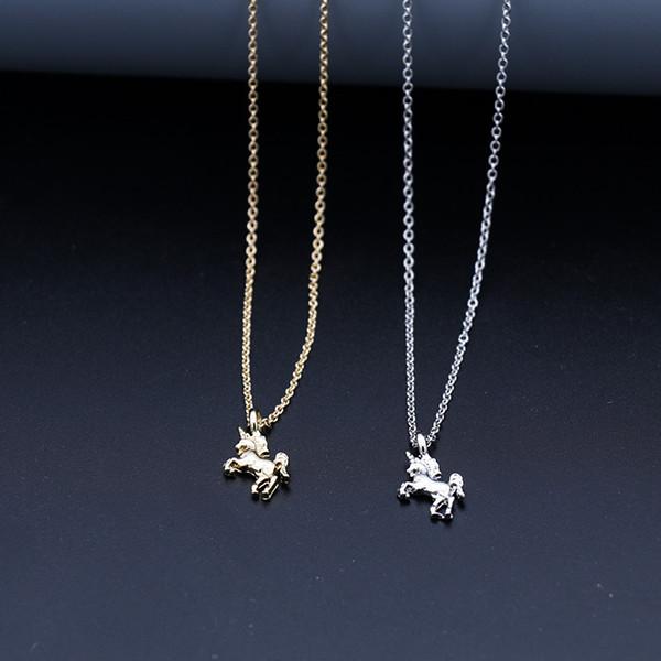Ожерелье Дружбы Единорога Единорога Удачи животного шарм Ожерелье подарок для женщины и девушки серебряные тона и золотые тона