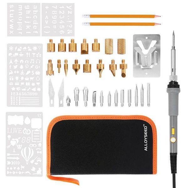Регулируемая температура Электрический паяльник для сжигания дерева Резьба по дереву Тиснение Пирография Советы Pen Tool Kit US Plug