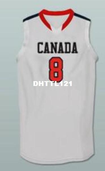 Maillot de basket-ball blanc rouge # 8 Andrew Wiggins Canada blanc ou maillot de basket-ball avec un nom ou un numéro