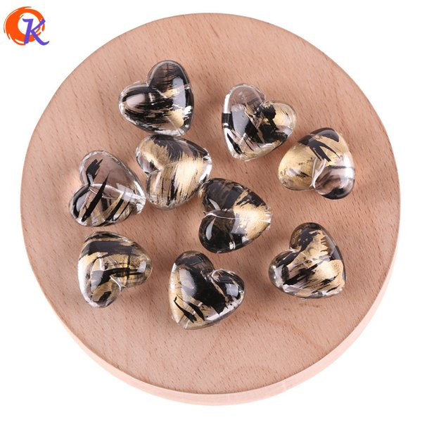 wholesale 18*20mm 200Pcs Acrylic Beads/Jewelry Accessories/Hand Made/Gold Black/Heart Shape/Print Bead/Earring Findings