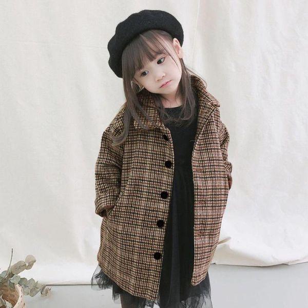 Winter Baby Girl Jacket Long Sleeve Plaid Girls Jacket Plaid Print Woolen Coat Kids Long Sleeve Autumn Outerwear Casual Clothes