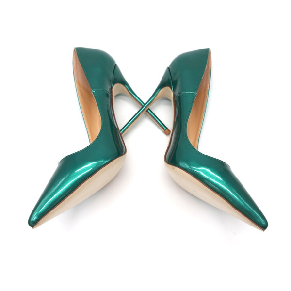 Casual Designer Free shipping real pic green patent leather women lady hot sale 2018 new style summer spring autumn shoes size 3 size 12