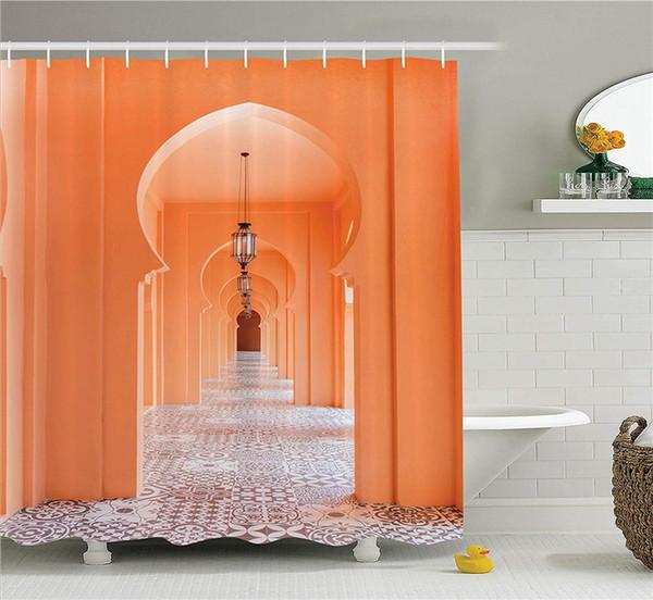 Arabian Shower Curtain Passarela marroquina com motivos asiáticos e árabe Artsy Elements Visual Oriental foto tecido banheiro Decor Set