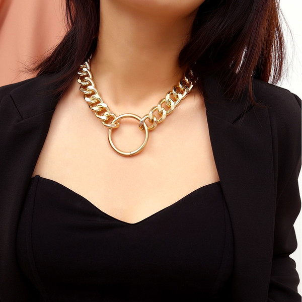Rongho Vintage Big Metal Circle chokers necklaces for women punk jewelry Gold link chain necklace circle pendant necklace chunky bijoux