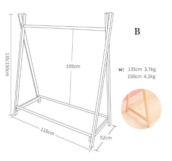B 118 * 52 * alto 150cm de madera