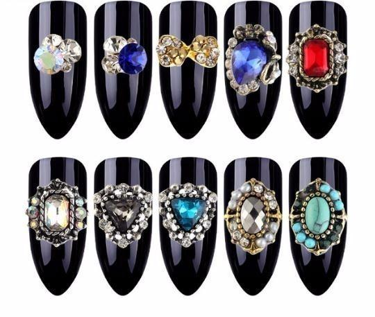 10 Pcs/pack Decorations 10 Designs Alloy With Rhinestones 3d Colourful Charm Crystal Peal Nail Art