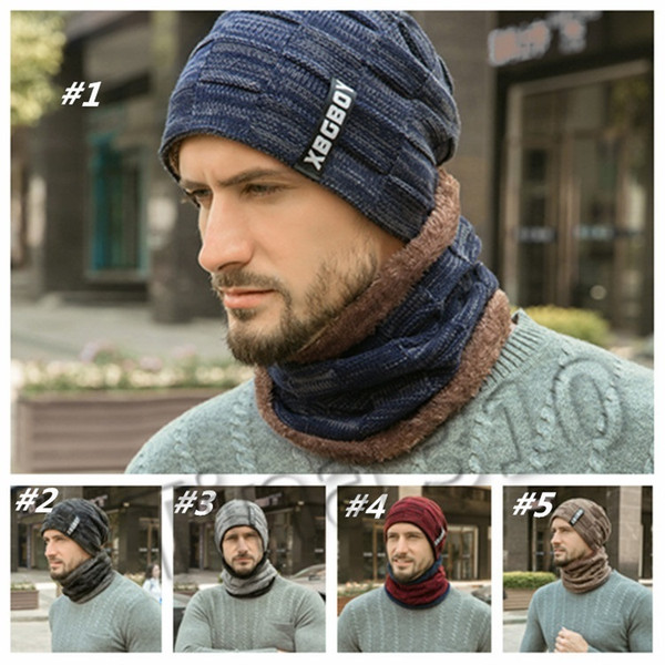 top popular warm Knitting Hat Scarf Set Men Solid Color Warm Cap Scarves Male Winter Outdoor dad hats Scarf designer hats caps men 1set T2C5086 2021