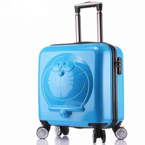 Doraemon pull varilla caja chico lindo maleta equipaje niños caja de arrastre 19 pulgadas jingle rueda de dibujos animados universal