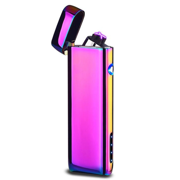 New Colorful Zinc Alloy USB ARC Windproof Charging Lighter Portable Innovative Design For Cigarette Bong Smoking Pipe High Quality DHL