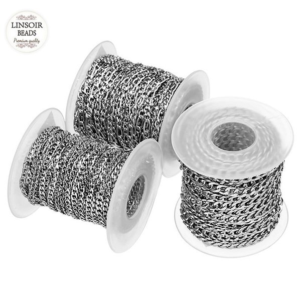 10yards/roll 3mm 4mm 5mm Width Silver Tone Stainless Steel Bulk Chain Men's Figaro Chain For Necklaces Bracelets Jewelry Making Y19050901