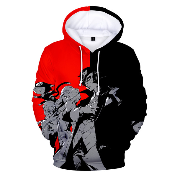 Kpop Black Red Classic Hot Game 3D Persona5 Character Hoodie Young People Hooded Casual Boy Girl 3D Sweatshirt Pullover Handsome