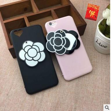 Mobile phone case for iphone 8plus X XR oppo R9S X7 new creative camellia makeup mirror mobile phone silicone protective case