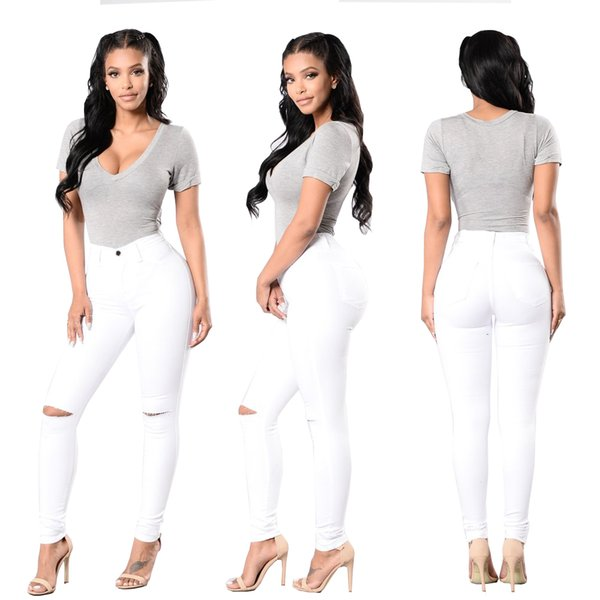 Wholesale Women White jeans High Strength Water washed skinny jeans Ladies fashion New Style Leisure Bottom Jeans 168-1#